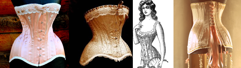 a4427933e9 Corsets of this period could be trimmed in ribbons and bows